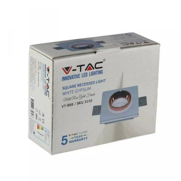 Oprawa Oczko V-TAC GIPS GU10 Kwadrat Wpuszczana G-K Biały+Złoto VT-866 5 Lat Gwarancji