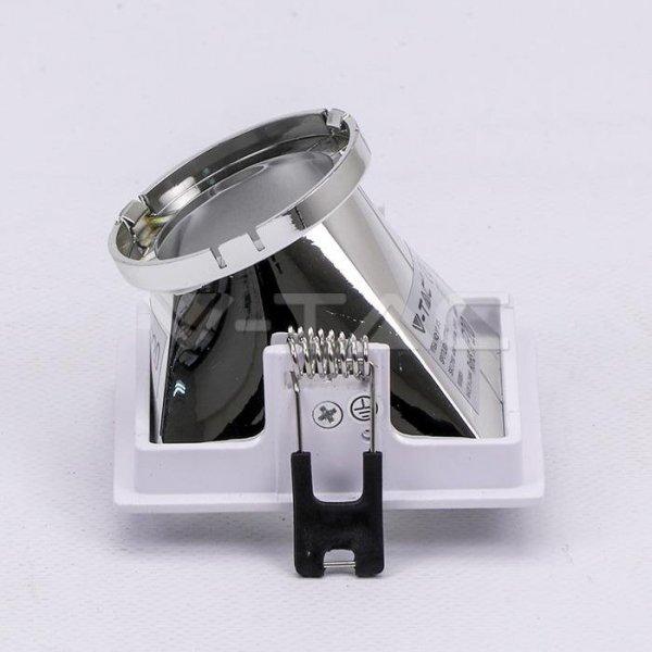 Oprawa Oczko V-TAC GU10 Wpuszczana Biały/Chrom Kwadrat VT-875 3 Lata Gwarancji