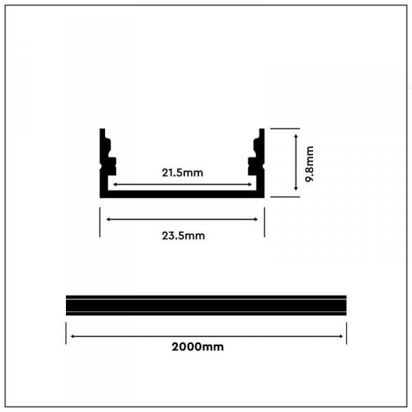 Profil Aluminiowy V-TAC 2mb Biały, Klosz Mleczny, Na dwie taśmy VT-8108-W 5 Lat Gwarancji