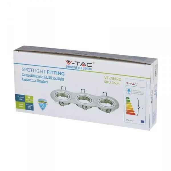 Oprawa Oczko V-TAC Aluminiowa Odlew 3xGU10 Okrągła Aluminium Szczotkowane VT-784