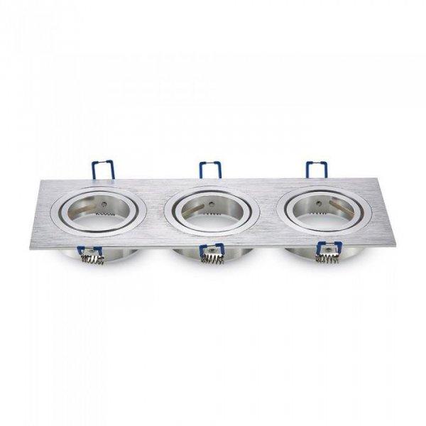 Oprawa Oczko V-TAC Aluminiowa Odlew 3xGU10 Kwadrat Aluminium Szczotkowane VT-784