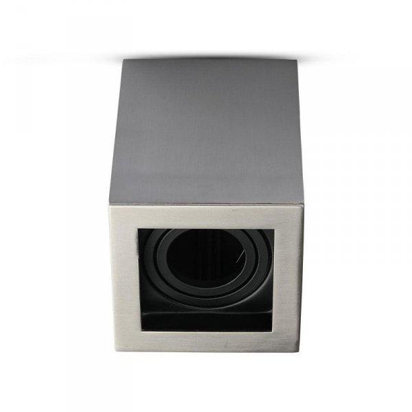 Oprawa V-TAC Aluminiowa GU10 Kostka Kwadrat Natynkowa Satyna+Czarny 142x100x100 VT-797
