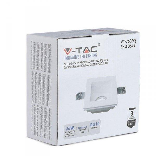 Oprawa Oczko V-TAC GIPS GU10 Wpuszczana Kwadrat 120x120 Biała VT-763