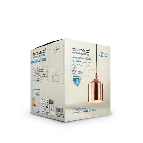 Oprawa Wisząca V-TAC Różowe Złoto fi175 VT-8175 5 Lat Gwarancji