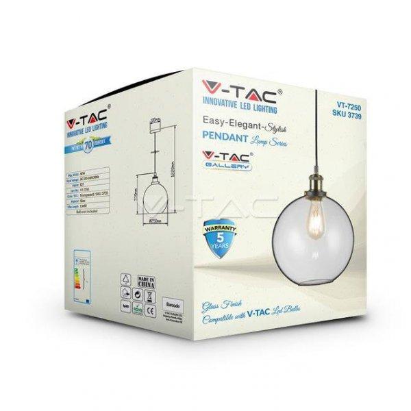 Oprawa Wisząca V-TAC LOFT Vintage Szkło Transparent fi250 VT-72506 5 Lat Gwarancji
