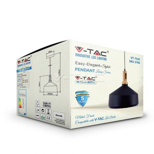 Oprawa Wisząca V-TAC Czarna fi350 VT-7545 5 Lat Gwarancji