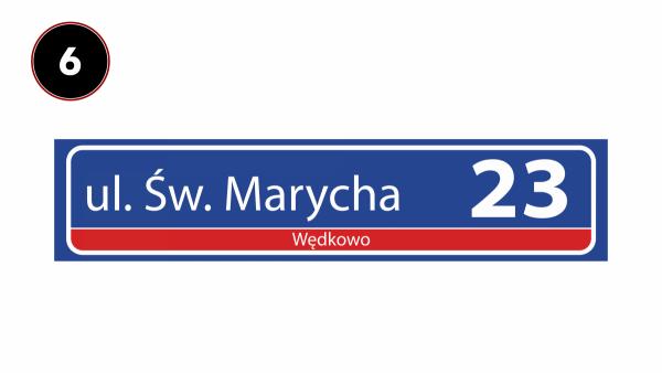 Tabliczka z nazwą ulicy odblaskowa