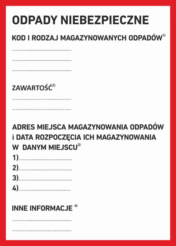 Etykieta odpady niebezpieczne 15/21cm