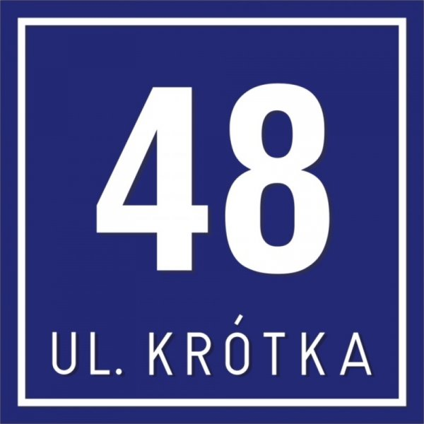 Tabliczka adresowa 20 cm x 20 cm + nazwa ulicy (tłoczona)