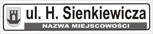 Tablica z nazwą ulicy i herbem 75 cm x 16,5 cm