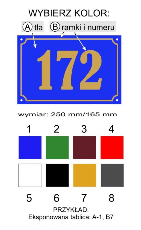 Tabliczka adresowa  25 cm x 16,5 cm (odblask)