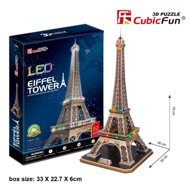 Puzzle 3D Wieża Eiffla (Światło)