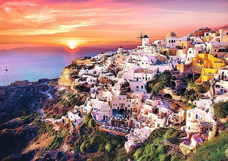 1000 Elementów Zachód słońca nad Santorini