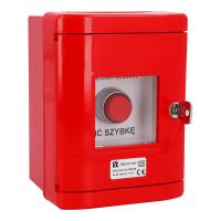 Przycisk wystający 2Z czerwony w obudowie OBC pierścień niklowany SP22-WC-20/OBC/A