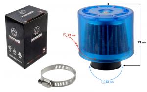 Filtr powietrza stożkowy niebieski, średnica 32mm