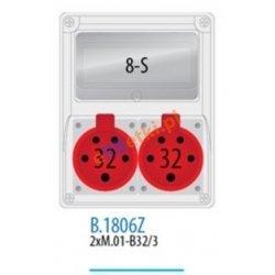 Rozdzielnica R-BOX 240 8S 2x32A/5p, zabezp. 2xM.01-B32/3, IP44