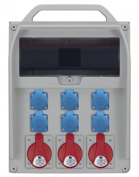 Rozdzielnica R-BOX 460R 17S 3x32A/5p, 6x230V, puste okno, IP 44