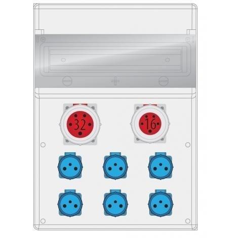 Rozdzielnica MAX BOX-16S 1x32A/5p, 1x16A/5p, IP65
