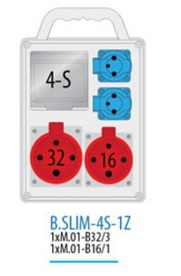 Rozdzielnica R-BOX SLIM 4S 1x16A/4p, 1x32A/4p, 2x230V zabezp. 1xM.01-B32/3, 1xM.01-B16/1, IP 44