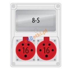 Rozdzielnica R-BOX 240 8S 2x16A/5p, puste okno, IP 44