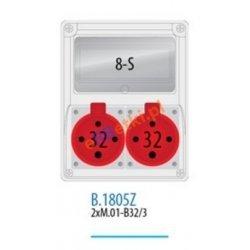 Rozdzielnica R-BOX 240 8S 2x32A/4p, zabezp. 2xM.01-B32/3, IP44