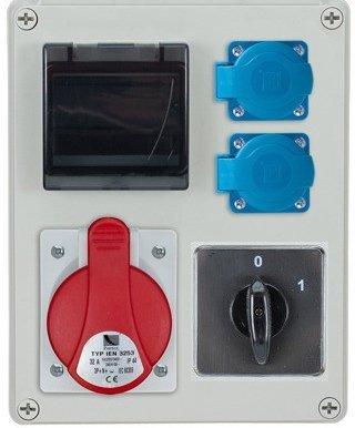 Rozdzielnica R-BOX 240R 4S 1x32A/5p, 2x230V, wył. (0/1), zabezp. 1xM.02-4/40/0,03, IP44