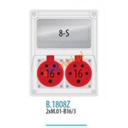Rozdzielnica R-BOX 240 8S 2x16A/5p, zabezp. 1xM.01-B16/3, 1xM.02-4/25/0,03, IP44