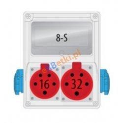 Rozdzielnica R-BOX 240 8S 1x16A/5p, 1x32A/5p, 2x230V, puste okno, IP 44