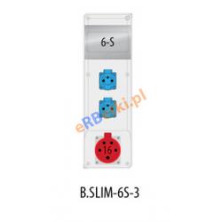 Rozdzielnica R-BOX SLIM 6S 1x16A/5p, 2x230V, zabezp. 1xM.02-4/25/0,03, 2xM.01-B16/1, IP44