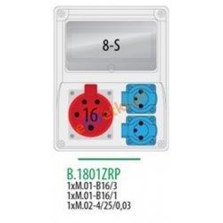 Rozdzielnica R-BOX 240 8S 1x16A/5p, 2x230V, zabezp. 1xM.01-B16/3, 1xM.01-B16/1, 1xM.02-4/25/0,03 IP44