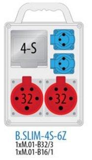 Rozdzielnica R-BOX SLIM 4S 2x32A/5p, 2x230V zabezp. 1xM.01-B32/3, 1xM.01-B16/1, IP 44