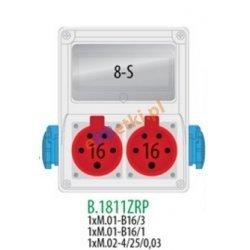 Rozdzielnica R-BOX 240 8S 2x32A/5p, 2x230V, zabezp. 1xM.01-B32/3, 1xM.01-B16/1, 1xM.02-4/40/0,03, IP44