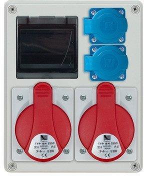 Rozdzielnica R-BOX 240R 4S, 2x32A/5p, 2x230V, puste okno, IP44
