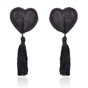 Bielizna-Heart Nipples Tassels BLACK