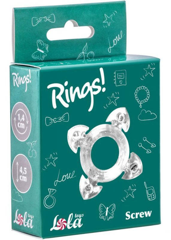 Pierścień-Cockring Rings Screw white