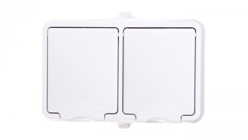 HYDRO Gniazdo hermetyczne podwójne z/u IP44 z klapką białe 120436