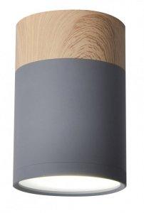 TUBA LAMPA SUFITOWA 1X15W GU10 6,8/10 SZARY+DREWNO