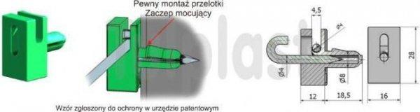 PRZELOTKA DRUTU MOCOWANA NA BOLEC PD/B ZIELONA