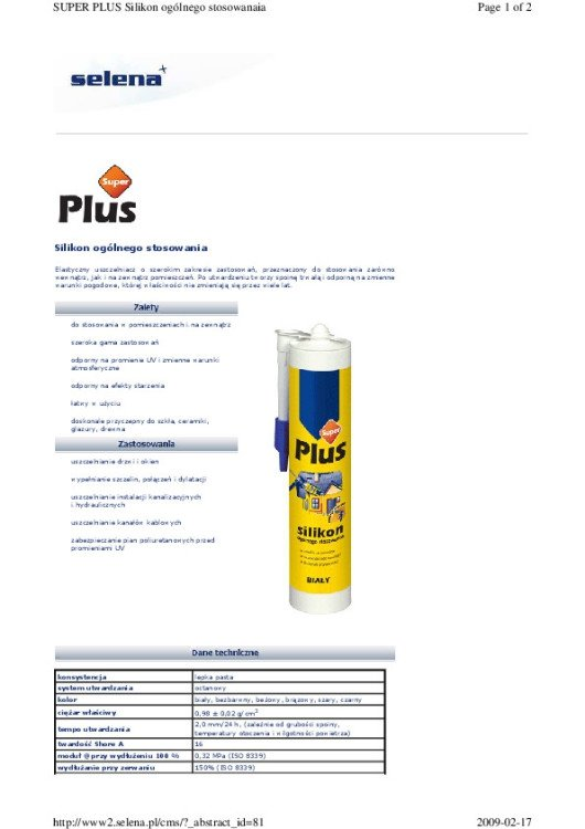 SILIKON SUPER PLUS 280ML BIAŁY