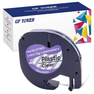 Taśma do Dymo LetraTag 12268 12mm x 4m Przeźroczysta Plastik - zamiennik GP-DY12268