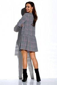 Koszulowa sukienka z falbaną i guziczkami L311
