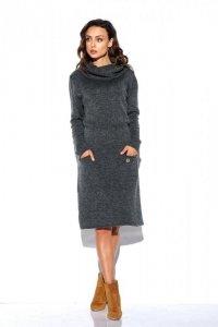 Sweterkowa sukienka z golfem i kieszeniami LS257