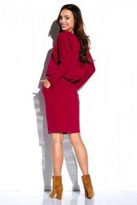 Dresowa sukienka z długim rękawem i kieszeniami L322