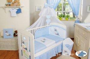 Pościel 7-cz z moskitierą- Osiołek Lucek niebieski