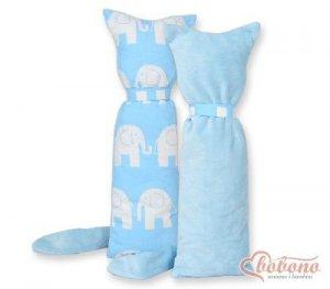 Kot przytulanka dwustronna - Simple słonie niebeskie