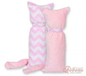 Kot przytulanka dwustronna - Simple zygzaki różowe