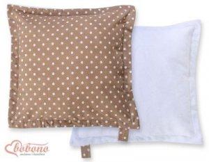 Poduszka dwustronna- Białe groszki na brązie