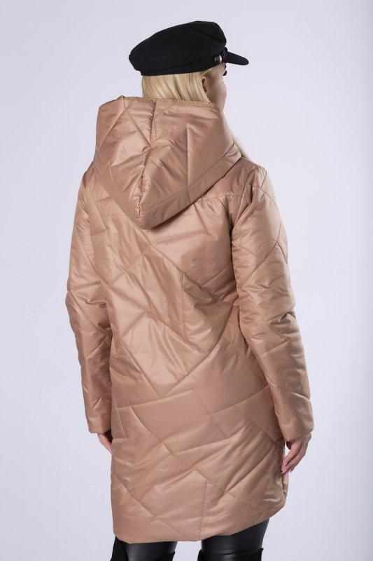 pikowana kurtka z kapturem, asymetrycznym zapięciem i metalicznym połyskiem