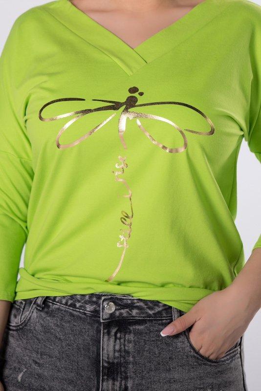 bluzka z połyskującym nadrukiem