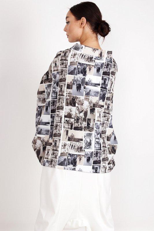 bluzka o nietoperzowym kroju z printem